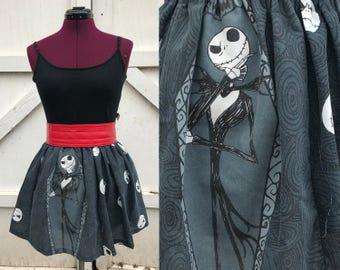 Nightmare Before Christmas skirt, glows in the dark!  Jack Skellington, blue-grey, small/medium/large/xl