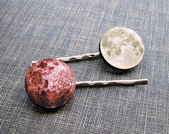 full moon hair clip set - 2 hair pins . pale sepia green & pink moon hairpin jewelry . bohemian hair accessories
