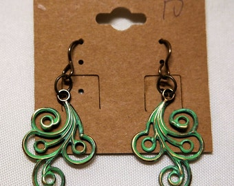 Green Swirl Vintaj Natural Brass Earrings