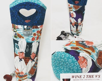 Wine Bag-Chefs-Wine Gift-Hostess Gift-Valentines-Mothers Day-Graduation Gift-Wine Lover