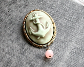 Anchor Cameo Brooch, Handmade Cameo, Broach, Cameo Jewellery,Nautical Brooch, Anchor Jewelry, Sailor Style