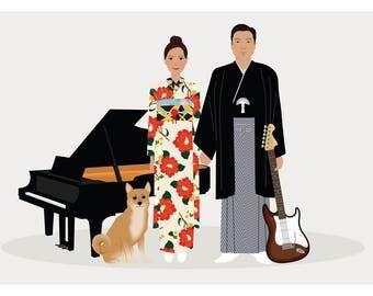 Couple Portrait, couple illustration, family portrait illustration