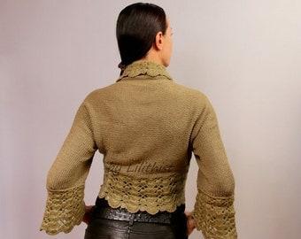 Lace Shrug Bolero, Crochet Shrug, Wedding Shrug, Knit Bolero, Army Green Sweater Cardigan, 3/4 Sleeve Hand Knit Shrug, Crochet Shrug / SALE