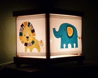 Jungle Night Light Lion Elephant Rhino Turtle Decor