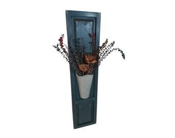 "Rustic Shutter Vase, XL Shutter Wall Decor Galvanized Pot, 50""H Distressed Shutter Sconce,  Shabby Chic Shutter Wall Decor, Shutter Planter"