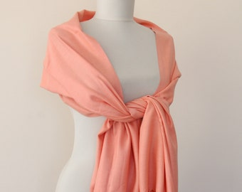 Salmon pashmina scarf bridal pashmina peach wedding shawl thick pashmina gift for her bridesmaids gift bridal shawl valentines day gift