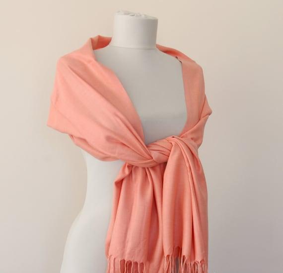 Salmon pashmina scarf bridal pashmina peach wedding shawl thick pashmina gift for her bridesmaids gift bridal shawl valentines day gift
