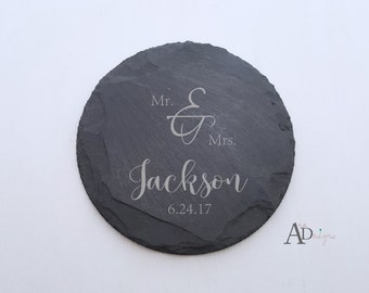 Personalized Slate Coasters Set of 4 Engraved Personalized Coaster Custom Coaster Personalized Wedding Gift Housewarming Gift Couple Gift
