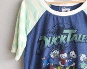 Women & Girls - Duck Tales Upcycled Raglan, choose your size (girls 6 - women L)