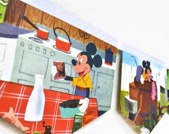 MICKEY MOUSE and PLUTO Pup Banner Vintage  Disney Little Golden Book Bunting Children Repurposed upcycled Childrens Party decoration nursery