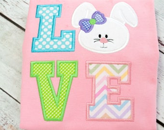 Girls Easter Shirt - Size Small (5/6) -  Ready to Ship  - Sample Easter Shirt -  Girls Easter Bunny Shirt - Easter Bunny Shirt - Love Easter