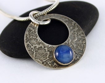 Handcrafted Sterling Silver Indigo Blue Kyanite Open Circle Pendant Textured Surface Contemporary Artisan Jewelry Design 1273521981416