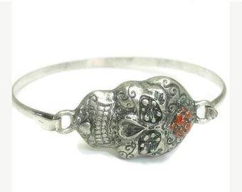 Sale  Sugar Skull Bracelet - Minimalist - Bangle - Day of the Dead - Dia de los Muertos - Metal Sugar Skull Bracelet with Rose - Skull Jewel