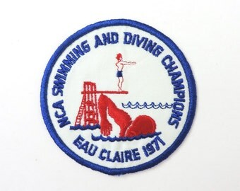 1971 Vintage Patch Embroidered Swimming Diving Eau Claire WI