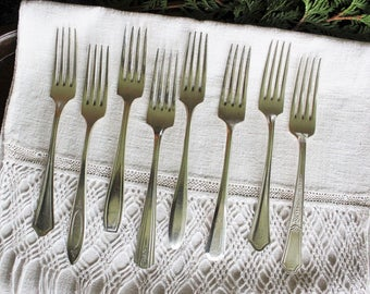 8 Antique Mixed Silverplate Dinner Forks