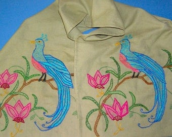 Vintage Embroidered Table Runner Colorful Exotic Bird Peacock X Long Size