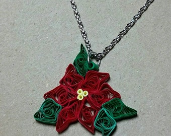 Red Poinsettia Necklace