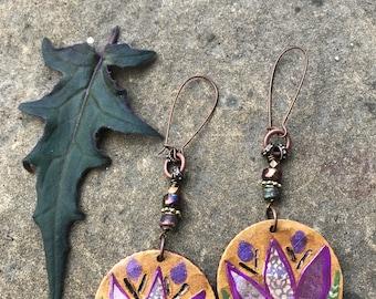 Lotus EARRINGS, reversible earrings ,folk earrings, zen earrings, wood earrings, hoop earrings, hippy earrings,  mandala  earrings Zasra
