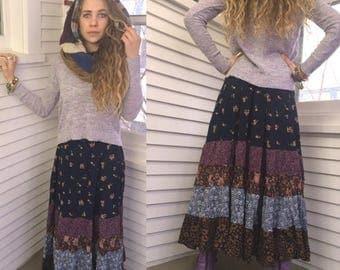 SALE Eco Gypsy SKIRT, sizeXS  eco clothing, hippie skirt, festival skirt,  long boho skirt, rayon skirt,  full skirt, patchwork skirt, Zasra