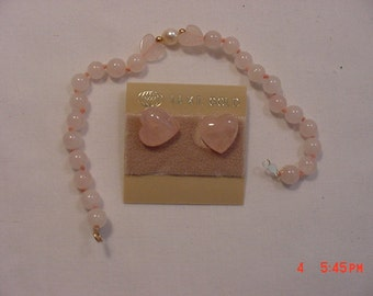 Vintage Pink Glass Hearts Bracelet & Pierced Earring Set  17 - 60