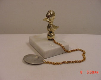Vintage Weird Metal Duck On Marble Base Paper Weight  17 - 279