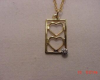 Vintage 1/20 14 K G F Double Heart Necklace  17 - 322