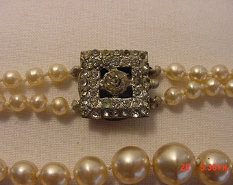 Vintage Faux Pearl With Rhinestone Accent Clasp 2 Strand Necklace  17 - 404