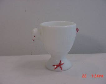 Vintage White Milk Glass Chicken / Chick Egg Cup  17 - 700
