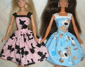 """Handmade 11.5"""" fashion doll clothes - Your choice - blue or pink puppy dog print dress"""