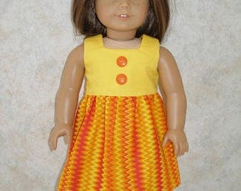 Dress for 18 inch dolls  -Yellow and Orange print with orange shoes