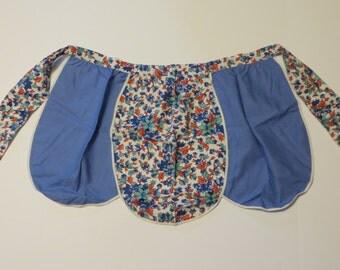 Vintage Feedsack Apron-Blue Floral Print