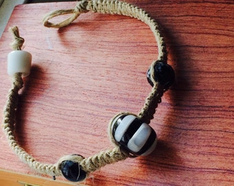 Thin Hemp Bracelet with Black & White Glass Beads