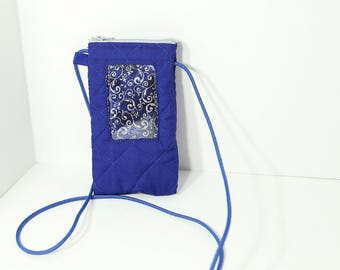 ID phone case in Royal Blue with silver print lining