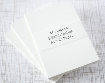 ATC Blanks ACEO Blanks Acrylic Paper Artist Trading Card Supplies ACEO Supplies Altered Art Mixed Media Scrapbooking 12 count Art Card Blank