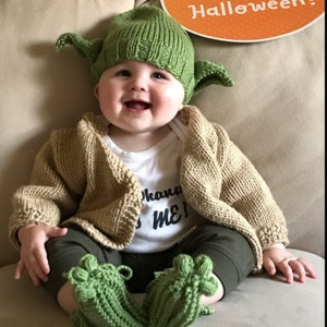Free Shipping Usa Hand Knitted Green Yoda Like Hat And Brown