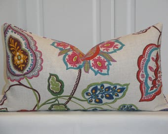 DOUBLE SIDED - Decorative Pillow Cover  - Floral Jacobean - Red - Pink - Purple - Aqua - Throw Pillow - Accent Pillow - Sofa Pillow