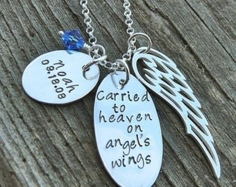 10 dollars off: Carried to Heaven on Angel's Wings (Personalized)  - Custom Sterling Loss Necklace