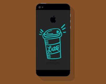 New! - LATTE CUP VINYL Decal, To Go Latte Phone Decal, Illustrated Decal, Cell Phone Decal, Vinyl Sticker
