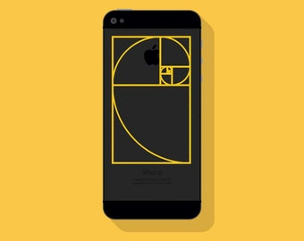 New! - Golden Ratio VINYL Decal, Designer Vinyl Decal, Illustrated Math Decal, Fibonacci Phone Decal, Vinyl Sticker