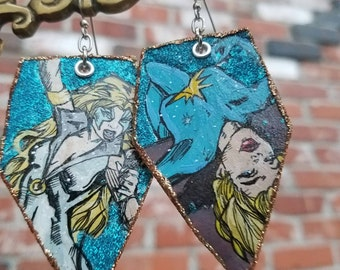 Dazzler Allison Blaire - X-Men comic book inspired painted glitter earrings