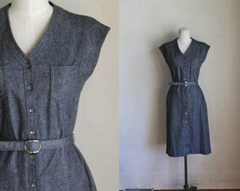 vintage 1970s wool dress - MAGNETIC gray jumper dress / S