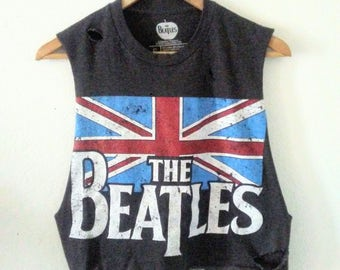 The Beatles TShirt / Crop Top / Muscle Tee / Long Armholes / Band TShirt / Union Jack Flag / Indie / Boho / Grunge / Rocker / Classic Rock