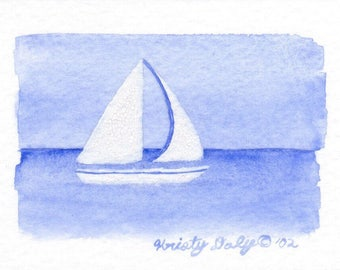 "Sailboat Watercolor - Giclee Print - 2.5"" x 3.5"""