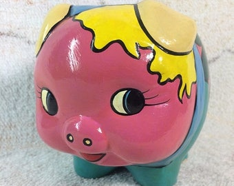 10% OFF Piggy Bank Ceramic Hand Painted Colorful Retro Sealed with No Opening Color Blocked