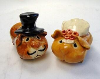Guinea Pig  - Wedding Cake Topper - Handmade  Figurines - Pottery Animals - Ceramic Sculpture - set of two