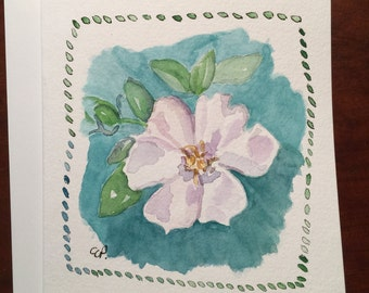 Gardenia Bloom Watercolor Card / Hand Painted Watercolor Card