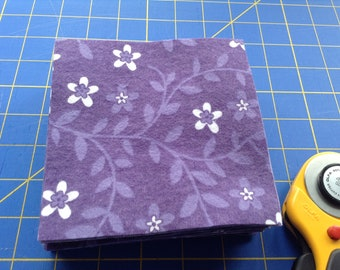 Flannel 5 Inch Fabric Squares, 40 Precut Squares, Rag Quilt Squares, Craft, Sewing Supply, White Flowers, Purple Flannel, Rotary Cut