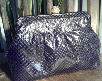 70s ROBINSON'S—Black Python Evening Bag—Clutch—Golden Clasp with Rhinestones—Mint