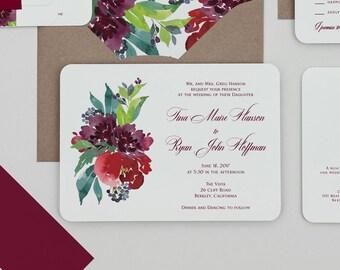 Modern Deep Berry Floral Wedding Invitation,Rustic Boho Burgundy Floral Wedding Invite,Plum Floral Wedding Invitations,Winter Wedding Invite