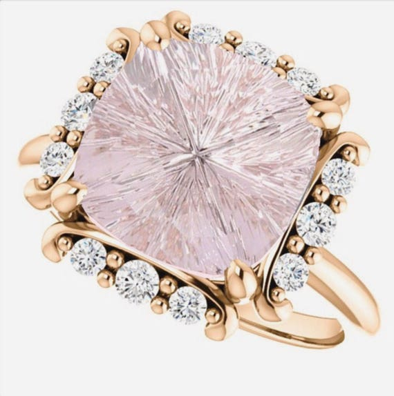 Pink Morganite Diamond Ring Rose Gold Bright Star TM Designer Stone